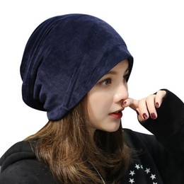 d720d3e9857e7c Womens Beanies Australia - Womens Velvet Skullies Beanie Gorro Winter Caps  Ladies Baggy Hats Thick Warm