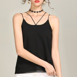 Black cami vest online shopping - 2019 Chiffon Tank top Women Summer Vests Gray Red Pink Black White Cami Top
