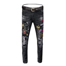 $enCountryForm.capitalKeyWord Australia - Spring and summer black jeans men's slim feet pants hole Korean version of the trend of embroidered street fashion pants