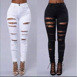 Wholesale female pencil jean resale online - Women ripped jeans High Waist Torn female club denim pants Hole Knee Skinny Pencil jean destroyed trousers For girl club wear