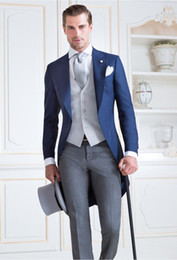 ClassiC tuxedo styles online shopping - Tailcoat Morning Style Groomsmen Peak Lapel Groom Tuxedos Men Suits Wedding Prom Dinner Best Man Blazer Jacket Pants Tie Vest G272
