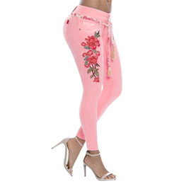 $enCountryForm.capitalKeyWord Canada - Spring Fashion Pants Sexy Jeans For Woman Rose Embroidery Denim Pencil Distressed Jeans Plus Size Ladies Clothes Jens Mujer 20