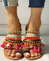 Ring Slides Australia - Bohemia Style Studded Tassel Designed Toe Ring Slippers Strap Rome Fringed Lady Beach Summer Shoes Mixed Color Woman Slides