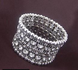 Tibetan Silver Bracelet Bangle Australia - Tibetan Silver 2 ROW Shining Elastic Crystal Bracelet Wrist Wristband Cuff Bracelets Bangle Women Girl Wedding Party Jewelry Fine Gift
