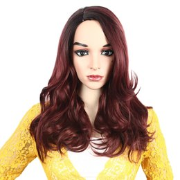 Discount long curly hair styles for women - 2019new Fashion Pink Green Red Gold wig Long Curly Hair Wig Synthetic Water Wave Long hair styling tools Wigs For Women
