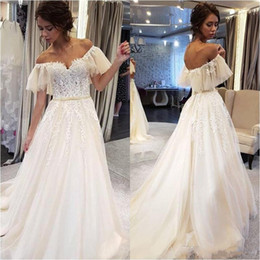 elegant fitted wedding dresses Australia - 2020 Elegant Boho Wedding Dresses Gypsy Fitted Off Shoulder Tulle Beach Bohemian Wedding Dress With Appliques robe de soiree