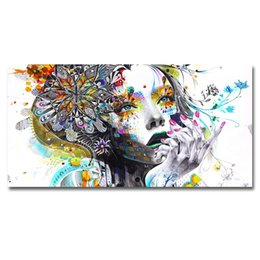painting faces NZ - Modern Canvas Prints Colorful Mosaic Painting Anime Women Art Girl Face with Flowers Wall Art Pictures for Living Room No Frame(