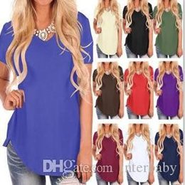 Wholesale christmas t shirts plus size for sale – custom Summer Tops T shirts Plus Size Casual V Neck Blusas Fashion Short Sleeve Tees Dovetail Loose Shirt Solid Vestidos Costume Clothing BYP6073