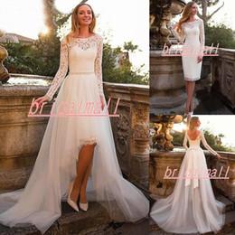 $enCountryForm.capitalKeyWord Australia - Bohemian Lace Top High Low Wedding Dresses Overskirts 2019 New Long Sleeve Beach Boho Short Bridal Gowns Detachable Train Vestidos De Novia