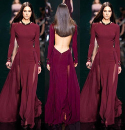 elie saab jacket Australia - Designer Elie Saab Burgundy Chiffon Long Sleeve Evening Dresses Sexy Jewel Backless See Through Simple Cheap Formal Prom Gowns Discount 2019
