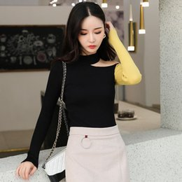 $enCountryForm.capitalKeyWord Australia - Autumn New Half neck sweater women hanging neck shoulder sweater female leaking collar bone knit bottoming shirt tight