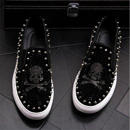 2a0503f170a 2019 Luxury Brand skull Men loafers white Diamond Rhinestones Spikes men  shoes Rivets Casual Flats sneakers wholesale size 38-43