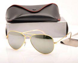 Mens Wholesale Sun Glasses Australia - 10PCS Mens Mirror glasses Brand Designer sun glasses 62MM Womans sunglasses Glass Lens Unisex sunglasses pilot glasses 9 colors with cases