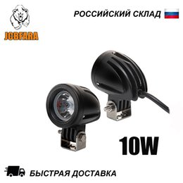 led tractor headlights UK - 1 pair 10W 12-24V LED headlights for auto motorcycle quad bike truck boat tractor trailer NIVA UAZ 4x4 offroad SUV motobike