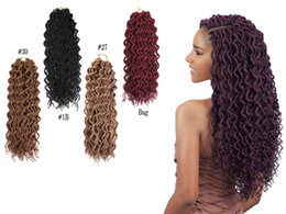 kanekalon braiding hair 27 613 NZ - 24 Roots 18Inch Goddess Faux Locs Curly Crochet Braids Hair Ombre Kanekalon Synthetic Dreadlocks Hair Extensions For Women