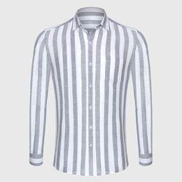 $enCountryForm.capitalKeyWord UK - Zecmos Stripe Cotton Linen Casual Shirt Men Striped Shirt Linen Male Slim Fit Men Shirt Long Sleeve Social Business