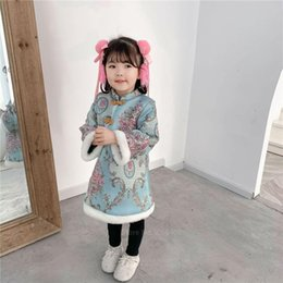Wholesale chinese clothes cheongsam resale online - Ethnic Chinese Traditional Clothing Cheongsam Kids Baby Girls New Year Qipao Tang Suit Princess Floral Pattern Gauze Dress