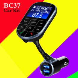 Wholesale BC37 Car Cell Phone FM Transmitter Wireless A2DP MP3 Audio Music Player Bluetooth Car Kit Handsfree Voltage Detection Dual USB Car Charger