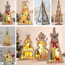 desktop lighting 2019 - Led Lighted Christmas Tree Wooden Tree Decoration For Christmas Party Home Decor Desktop Window Hanging Pendant WX9-1095