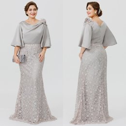 $enCountryForm.capitalKeyWord Canada - 2020 Mother of the Bride Groom Dress Mermaid Silver-Gray Lace Satin Top Crew Neck Half Sleeve Formal Wedding Guest Gowns Detachable Skirt