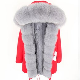 $enCountryForm.capitalKeyWord NZ - Maomaokong brand grey fox fur Threshold trim female snow coats grey fox rabbit fur lining red long parkas rabbit furs jackets