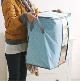 Quilt Clothes Storage Bags Thick non-woven Portable Wardrobe Organizer Save Space Folding Anti-dust Pouch Box For Pillow Blanket EEA1410-6 on Sale