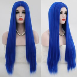 Blue Synthetic Lace Front Wigs Australia - Hand Tied Blue Wig Long Straight Glueless Heat Resistant Fiber Hair Synthetic Lace Front Wigs For Women Party Wig
