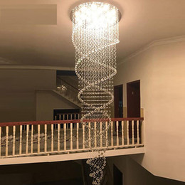Dia80 Cm Large K9 Crystal Chandeliers Villa Luxury Hotel Stair Chandelier Lamp Led Spiral Long Droplight Lightings Ac110-240v Lights & Lighting Chandeliers