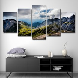 $enCountryForm.capitalKeyWord NZ - 5 Pieces Mountains Canvas Painting HD Print Landscape Poster Picture Wall Art House Decoration Popular Gift