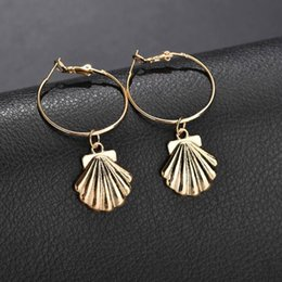 $enCountryForm.capitalKeyWord Australia - New design shell drop earrings korean fashion style gold silver plated shell hoop earring retro sandy beach summer holiday type jewelry