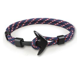 mens gold anchor Australia - 2019 Popular Design Handmade Mens and Womens Paracord Anchor Bracelet Multi Colors Woven Bracelet for Wholesale 2 pcs