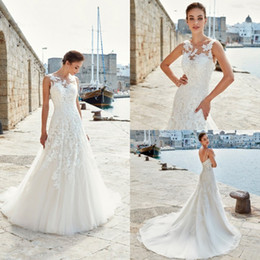 jewel spring Australia - Eddy K Wedding Dresses Jewel Sleeveless Lace Appliques Bridal Gowns 2019 Spring Backless Sweep Train A-Line Wedding Dress Vestidos De Noiva