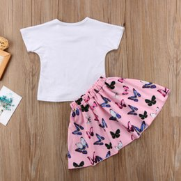 set three canvas prints Australia - Emmababy Baby Girls Print Clothes Set Short Sleeve T shirt Tops TuTu Butterflies Dress Skirts Bottom Outfits