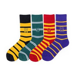 Discount harry potter badges - Harry Potter Socks Baseball Socks Hogwarts Magic School Long Tube Striped Word Badge Sock Gryffindor Slytherin Ravenclaw