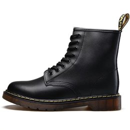 a00ca46f910 Mid Calf Lace Up Boots UK - Hot Brand Men s Boots Martens Leather Winter  Warm Shoes