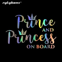 Wholesale prince stickers resale online - Rylybons DIY CM CM PRINCE AND PRINCESS ON BOARD Car Stickers Fun Vinyl Window Door Decal Car Sticker for Auto Products