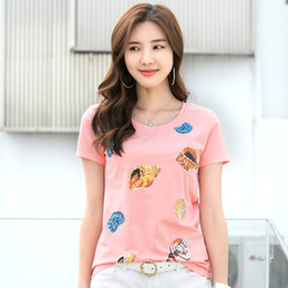ladies t shirt embroidery 2020 - New High Quality Cotton Women's Sequins 3d Slim T-shirt Plus Size Off Lady Fashion Cartoon Pattern t shirt Tank Top