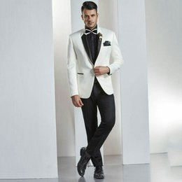 $enCountryForm.capitalKeyWord Australia - Latest Designs Lapel Ivory Men Suits for Wedding Suits Man Blazers Custom Made Groom Wedding Tuxedos 2Piece Slim Fit Costume Homme Ternos