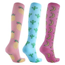 $enCountryForm.capitalKeyWord Australia - Outdoor Sport Men Women Compression Socks Pattern Fruits Banana Pineapple Cactus Pressure Compress Socks Running Stockings Nylon