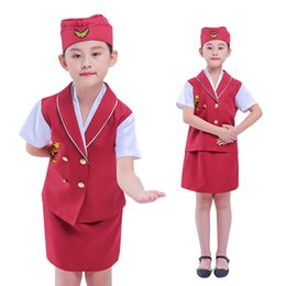 $enCountryForm.capitalKeyWord Australia - Halloween Cosplay Kid Clothes Girl Flight Attendant Uniform Give A Toy Plane 6T-9T Carnival Role Play Girl Prom Gown Costume