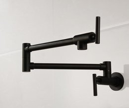 Single Wall Kitchens Australia - Brass matte black kitchen faucet Single Handle Pot Filler Faucet Swing Spout Wall Mount cold bathroom tap
