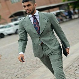 $enCountryForm.capitalKeyWord Australia - 2019 TPSAADE Latest Coat Pant Design Green Linen Custom Casual Street Style Slim Fit Weeding Suit For Men Tuxedo 2 Pieces Vestido