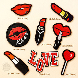 Appliques Sew Clothes Australia - cartoon badge 8pcs lot Lips Kiss Lipstick DIY Patches Badges Clothe Embroidery Patch Applique Ironing Clothing Sewing Supplies Decorative