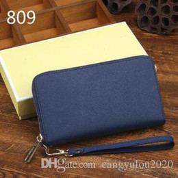 $enCountryForm.capitalKeyWord Australia - Top selling Fashion Women's Long Single Zipper Wallet Blue Classic Designer Women Genuine Leather Bag Lady wallets purses With box 18x1