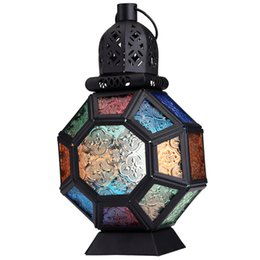 Chandelier Candles Australia - New Iron Glass Moroccan Retro Style Candlestick Candle Holder Chandelier European Style Home Decoration Lantern Indoor Party Y19061901