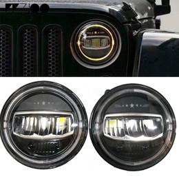 $enCountryForm.capitalKeyWord UK - 2Pcs 7 INCH Round LED Headlights H4 Headlamp with Amber Halo Angel Eyes with Star Logo For Jeep Wrangler TJ JK Hummer Land Rover Lada Niva