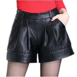 Girls Leather Shorts NZ - High Waist Women Leather Shorts 2019 Spring Fashion Pu Leathe Mosaic Ladies Skinny Black Leatherwear Wide Leg Super Shorts Girls J190508