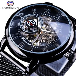 silver skeleton hand bracelet NZ - Forsining Retro Fashion Design Skeleton Sport Mechanical Watch Luminous Hands Transparent Mesh Bracelet For Men Top Brand Luxury Y19051302