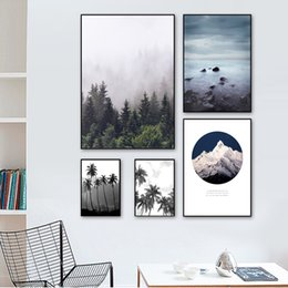 canvas print wholesale Canada - Tropical Forest coconut Tree Mountain Nordic Posters And Prints Wall Art Canvas Painting Wall Pictures For Living Room Decor