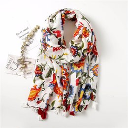 tassel scarf ladies cotton Australia - Japan Style Printing Scarf Floral Cotton Shawl With Tassel Colorful Flower Oversize Sunscreen Soft Wraps For Lady Pashmina